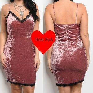 Dresses & Skirts - Deep Pink Black Lace Velvet Ruched Slip Dress